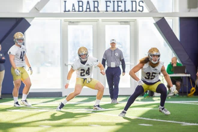 Notre Dame Fighting Irish football junior linebackers Jack Kiser and Maris Liufau