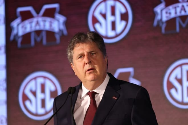 Mississippi State head coach Mike Leach at SEC Media Days Wednesday in Hoover, Ala.