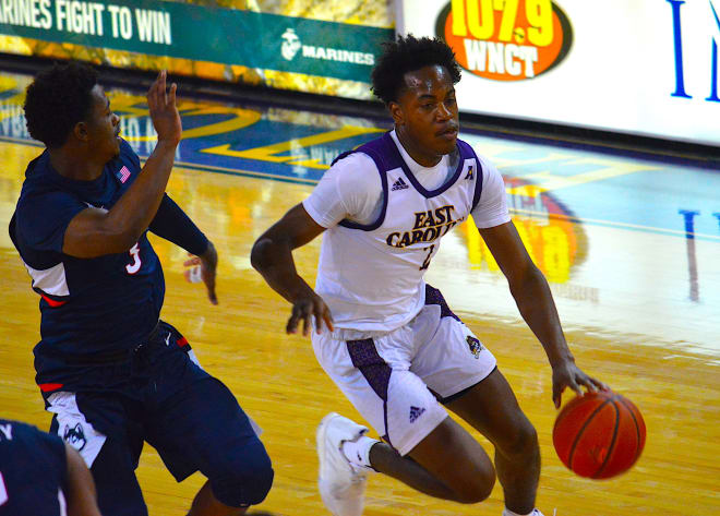 Tristen Newton scored 25 points to lead ECU in a 84-63 loss to Connecticut in the Pirates last home game.