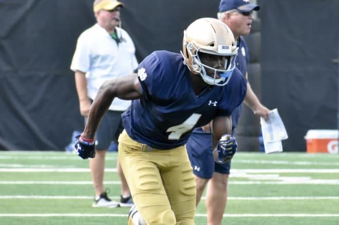 Notre Dame junior wide receiver Kevin Austin during practice