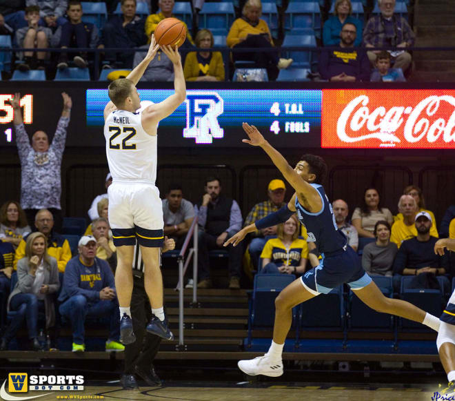 West Virginia Mountaineers sophomore guard Sean McNeil is shooting 40.5 percent from the field this year.