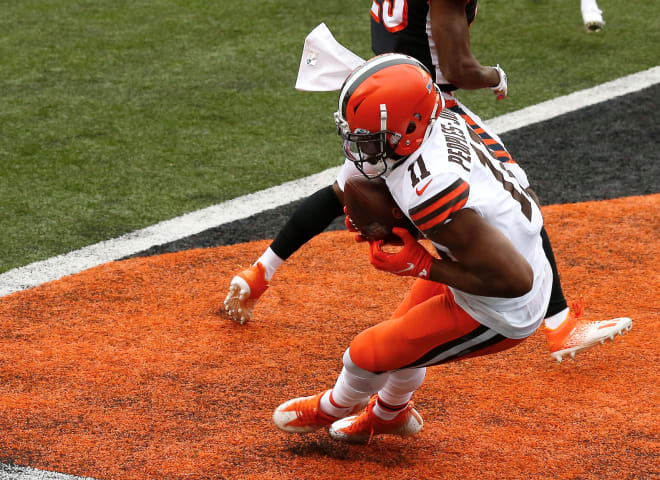 Former Michigan Wolverines football wideout Donovan Peoples-Jones caught two touchdowns as a rookie with the Cleveland Browns in 2020.