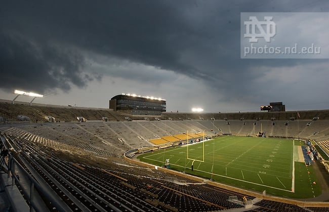 Lightning threats and storms forced the evacuation of Notre Dame Stadium twice in the 2011 opener versus South Florida.