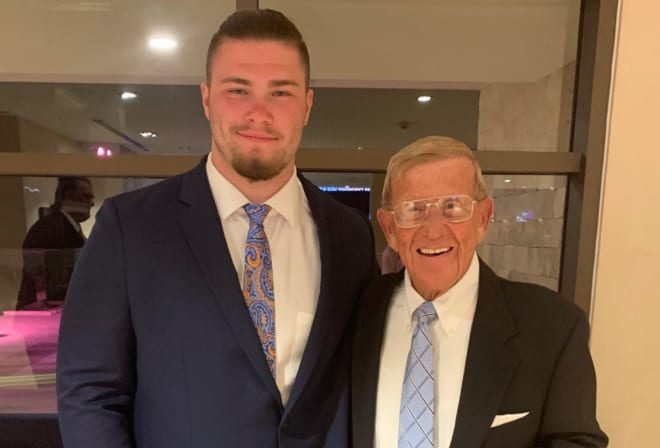 Clarkston (Mich.) High offensive lineman and Notre Dame target Rocco Spindler with former Fighting Irish head coach Lou Holtz