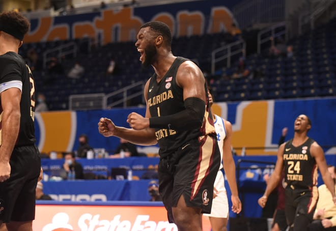 RaiQuan Gray celebrates during the FSU basketball team's win at Pitt.