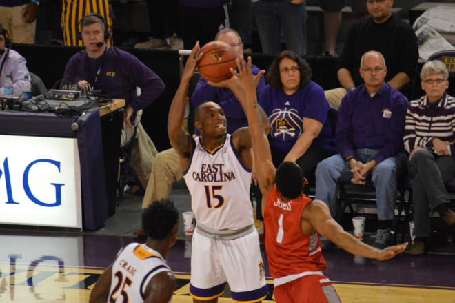Kentrell Barkley tossed in 13 points in ECU's 73-66 loss to Radford Wednesday night in Minges Coliseum.