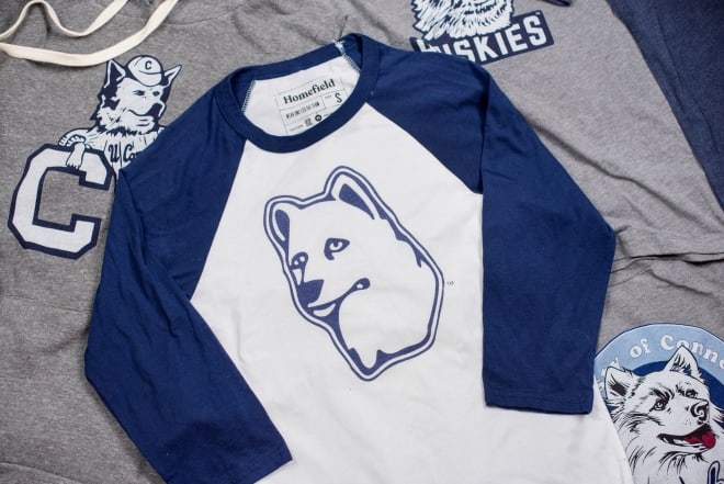"""Use promo code """"STORRSCENTRAL"""" for 20% OFF Homefield's new line of retro UConn gear!"""