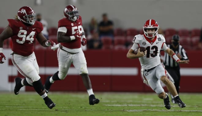 Stetson Bennett turned the ball over three times against Alabama with three picks.