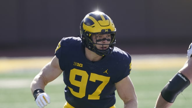 Michigan Wolverines football defensive end Aidan Hutchinson was projected to go No. 10 overall in ESPN analyst Todd McShay's 2022 mock draft.