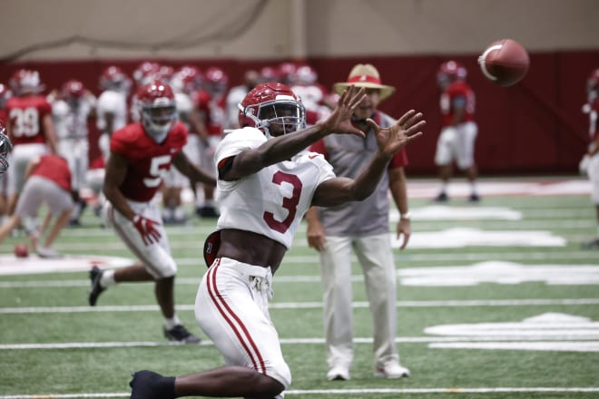 Alabama Crimson Tide receiver Xavier Williams catches a ball during practice. Photo | Alabama Athletics