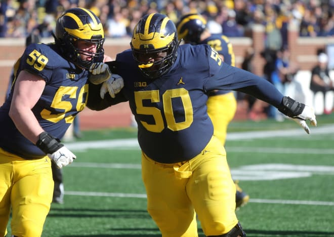 Michigan Wolverines football offensive lineman Joel Honigford has been used as an extra blocker.