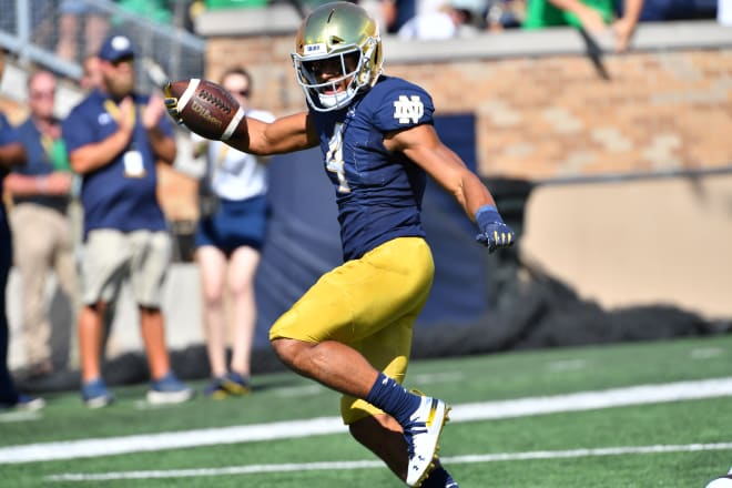 Avery Davis scoring the first touchdown of his Notre Dame career against New Mexico.