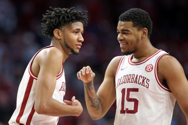 Arkansas's leading scorer duo Mason Jones and Isaiah Jones.