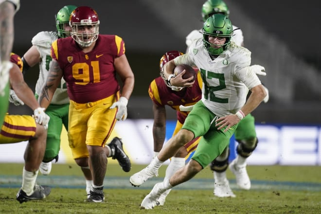 Tyler Shough in his time at Oregon