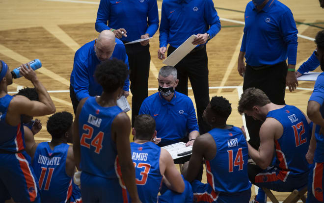 Boise State head coach, Leon Rice talks to the team during a timeout in Wednesday nights loss to Colorado State.