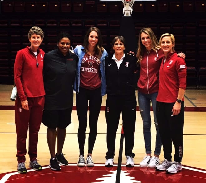 From left, Stanford assistant coaches Amy Tucker and Tempie Brown, Lacie Hull, head coach Tara VanDerveer, Lexie Hull and assistant coach Kate Paye.
