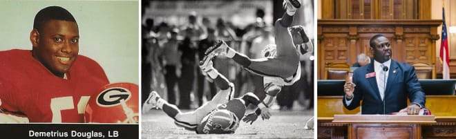 DEMETRIUS DOUGLAS with a head-over-heels tackle of Emmitt Smith during the 1989 Georgia-Florida game (center); representing District 78, a member of the Georgia House of Representatives (right).