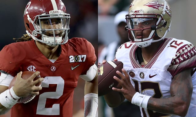 Jalen Hurts (left) threw for 2,780-yards and also rushed for 954-yards in 2016. FSU's Deondre Francois threw for 3,350-yards and ran for 198-yards last season.