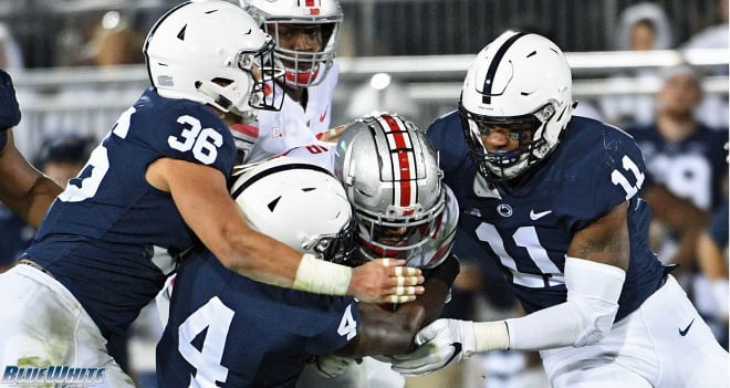 The Penn State defense swarmed the ball against Ohio State last season, forcing three fumbles.