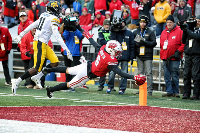 Wisconsin WR Danny Davis (6) diving for the Badgers' first touchdown against Iowa on Nov. 2