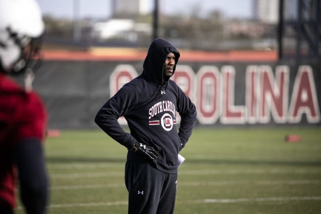 Torrian Gray looks on at a South Carolina spring practice.