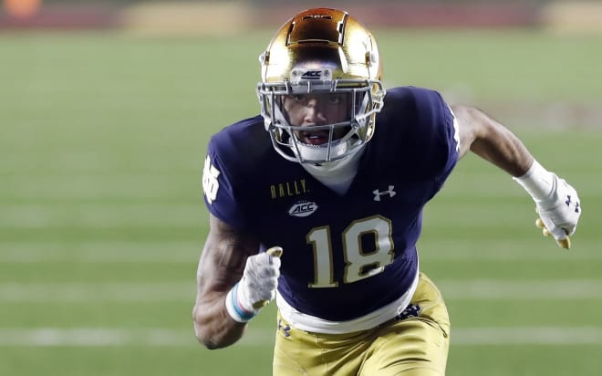 Notre Dame Fighting Irish football senior wide receiver Joe Wilkins Jr.