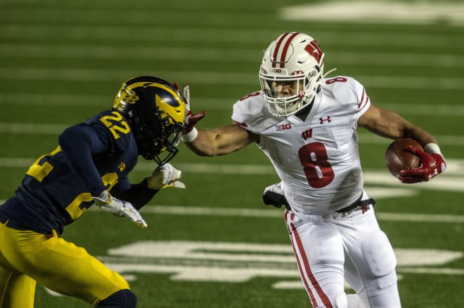 Wisconsin Badgers football freshman running back Jalen Berger racked up 87 yards and a touchdown in Wisconsin's blowout victory over Michigan in 2020.