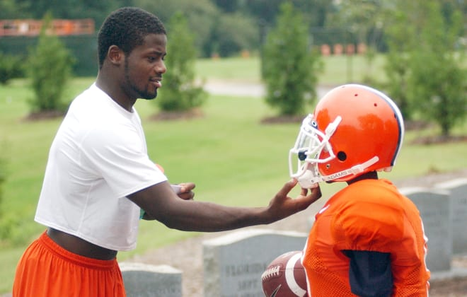 Former Clemson player Ray Ray McElrathbey is shown here in the Jervey practice facility with his younger brother, Fahmarr, in September of 2006.