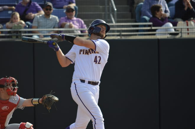 Spencer Brickhouse homers in game one against Radford on opening day for (11)ECU.