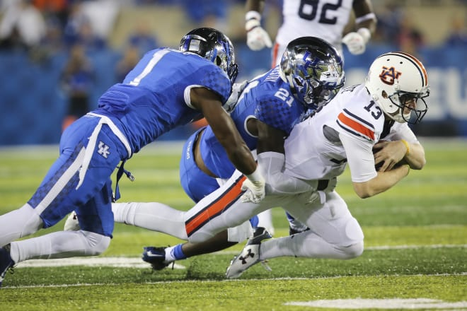 Auburn's last matchup against UK came during the 2015 season. Sean White (13) quarterbacked the Tigers to a 30-27 win in Lexington.