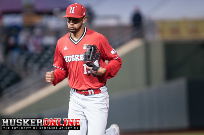 Luis Alvarado's walk-off hit gave Nebraska a sweep over Rutgers and first place in the Big Ten standings.