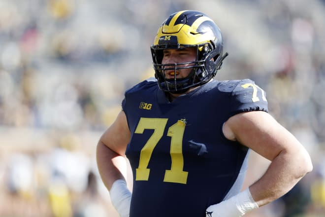 Michigan Wolverines football offensive lineman Andrew Stueber can play either guard or tackle.