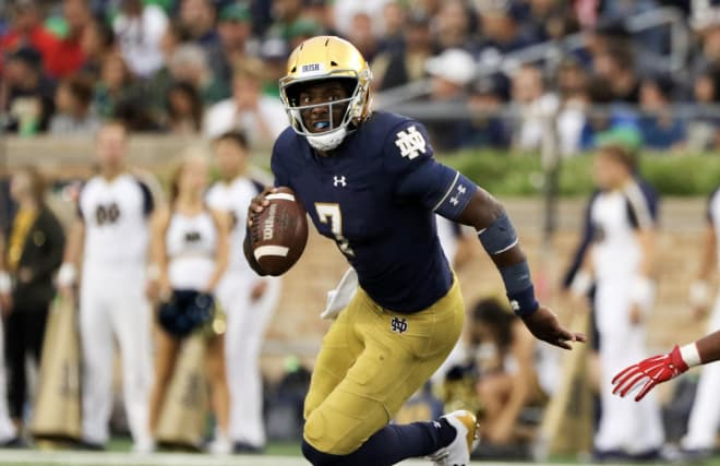 Wimbush threw for a career-high 297 yards against the Cardinals, but also tossed three interceptions.