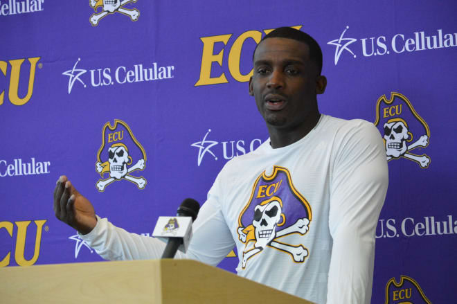 Scottie Montgomery addresses local and regional press for the 2018 ECU Football Media Day in Murphy Center.