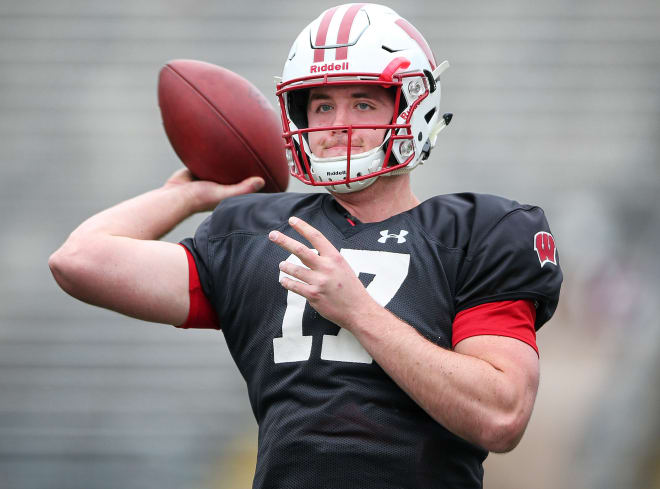 Notre Dame Fighting Irish football graduate transfer quarterback Jack Coan during his time at Wisconsin