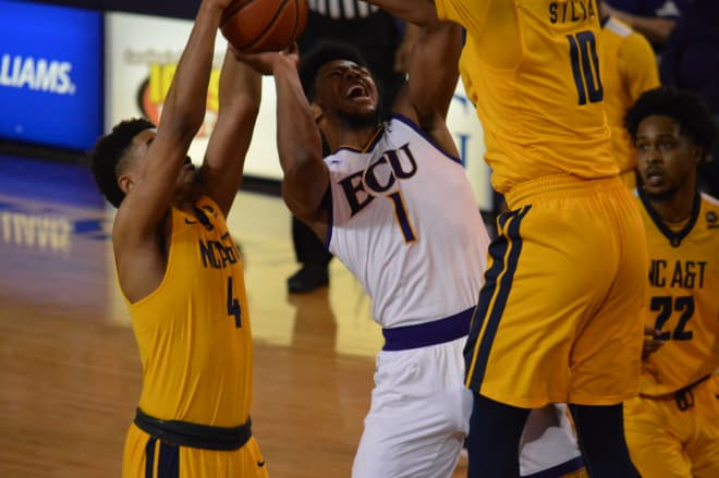 Jayden Gardner scored 27 points and pulled down 13 rebounds in ECU's seventh win of the season.