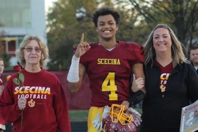 Indiana wide receiver signee David Baker with his mother and his grandmother on Scecina Memorial's Senior Day on Oct. 18, 2019. (courtesy photo)