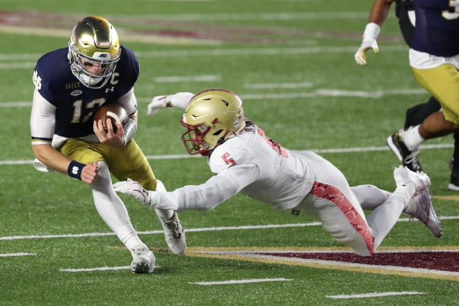Notre Dame fifth-year senior quarterback Ian Book versus Boston College on Nov. 14, 2020