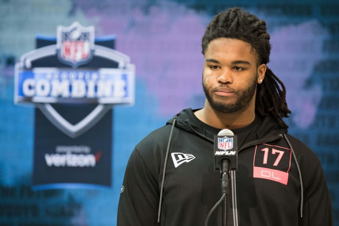 NC State Wolfpack football defensive lineman Larrell Murchison at the NFL Combine