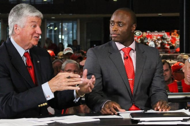UGA athletes-turned-television sports broadcasters D.J. Shockley (right) and Chuck Dowdle (Photo: Emily Selby).