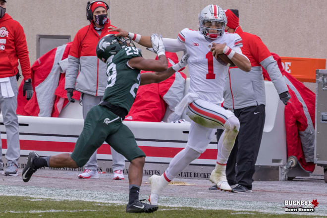 Justin Fields would lead the short-handed Buckeyes over Michigan State