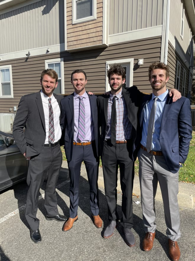The founders of Staying In, a new business focused on in-home dining with restaurant quality, are Harrison Prieto, Jake Seaman, Wyatt Wilkes and Will Miles.