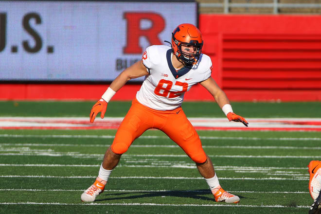 Tight end Luke Ford caught two passes in 2020, but the Illini are expecting big things from him this season.