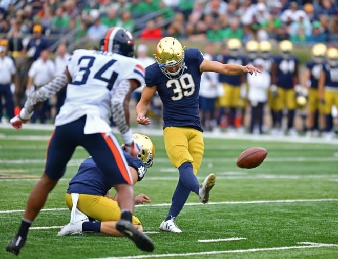 Notre Dame Fighting Irish football kicker Jonathan Doerer