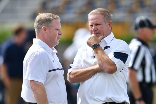 Brian Polian (left) is now Notre Dame's associate head coach.