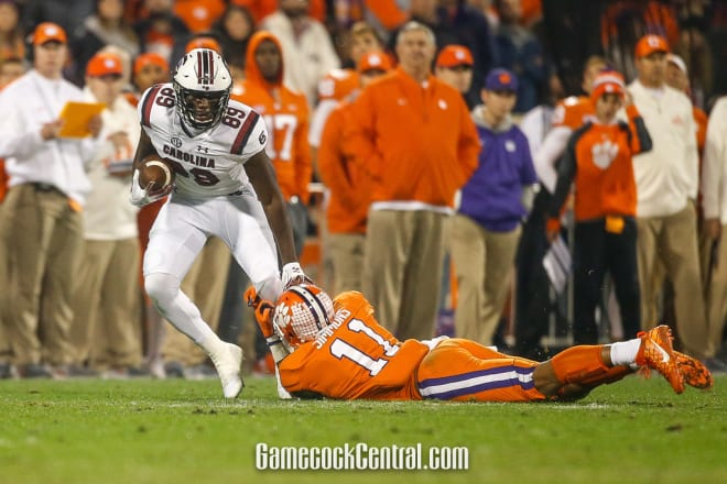 Gamecocks wide receiver Bryan Edwards tries to force a missed tackle against Clemson last season.