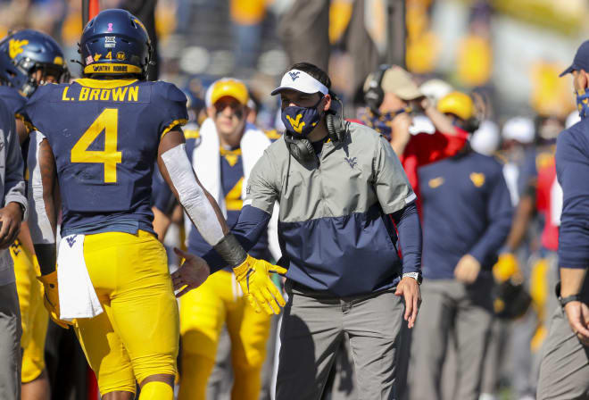 West Virginia's Leddie Brown rushed for just shy of 200 yards on Saturday against Kansas.