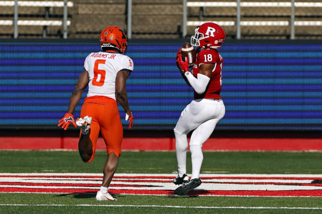 Rutgers Scarlet Knights senior wide receiver Bo Melton scored a touchdown against Illinois.