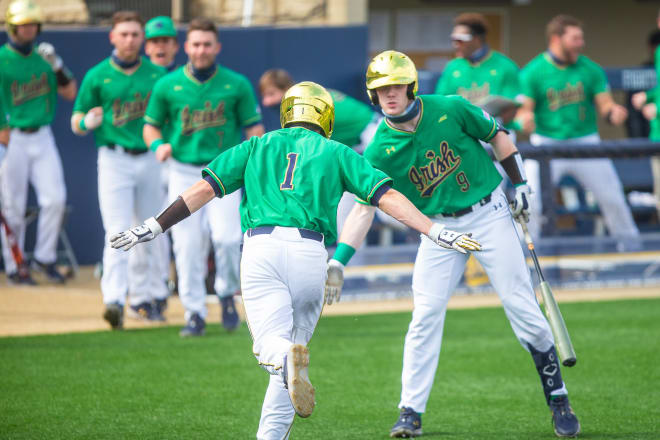 Notre Dame Fighting Irish baseball left fielder Ryan Cole (No. 1) and third baseman Jack Brannigan (No. 9)