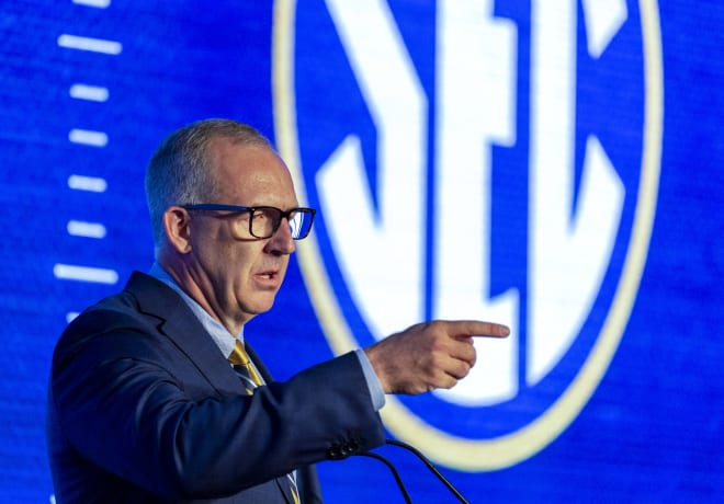 SEC commissioner Greg Sankey hopes college football can begin on time this season (Vasha Hunt-USA TODAY Sports)